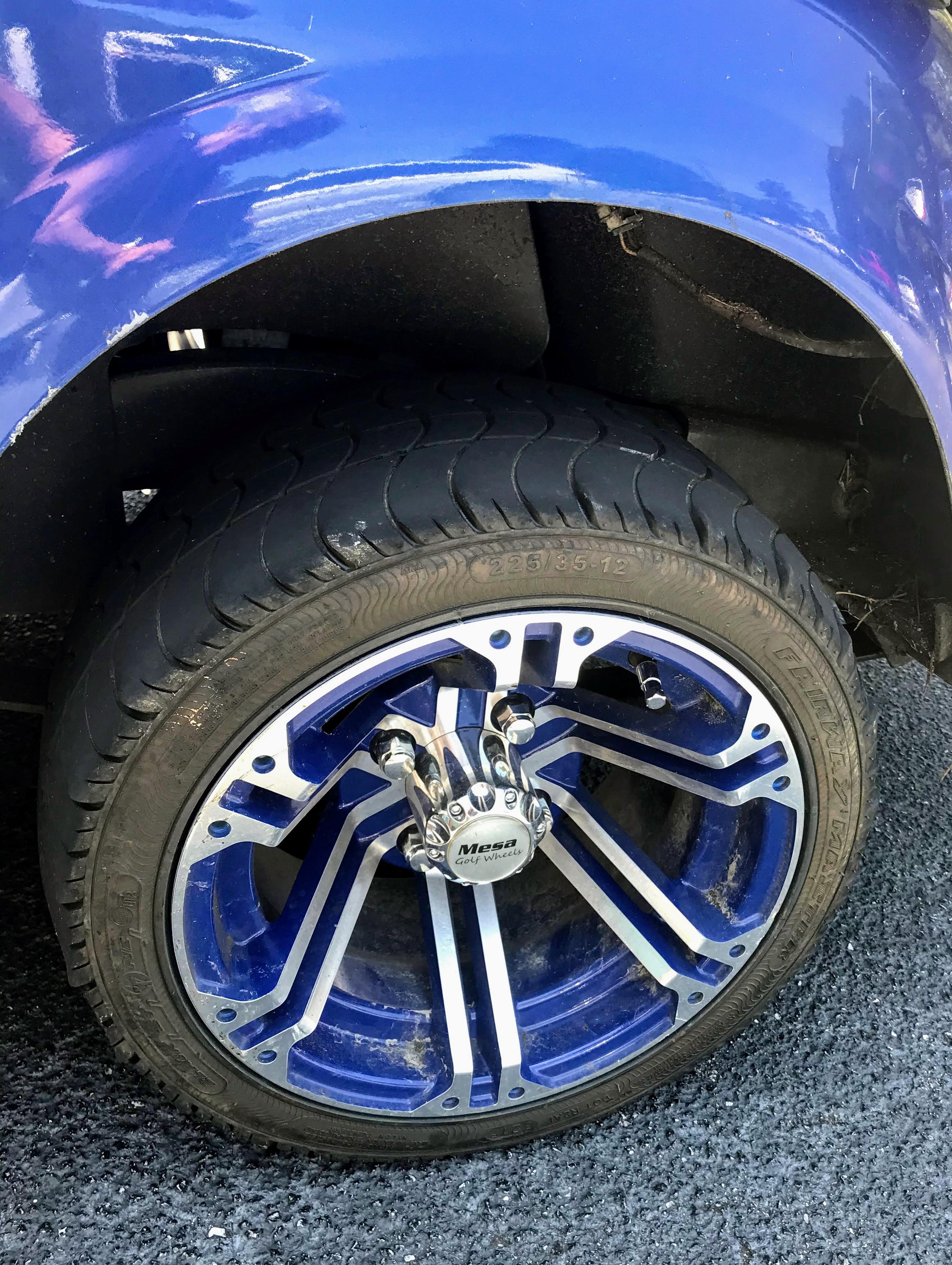 blue golf cart wheels