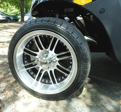 custom golf cart wheel on a low profile golf cart tire