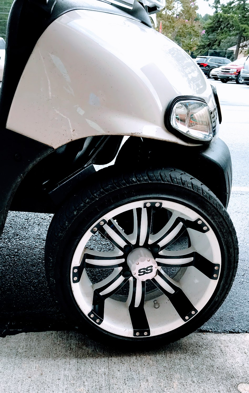 white golf cart wheels