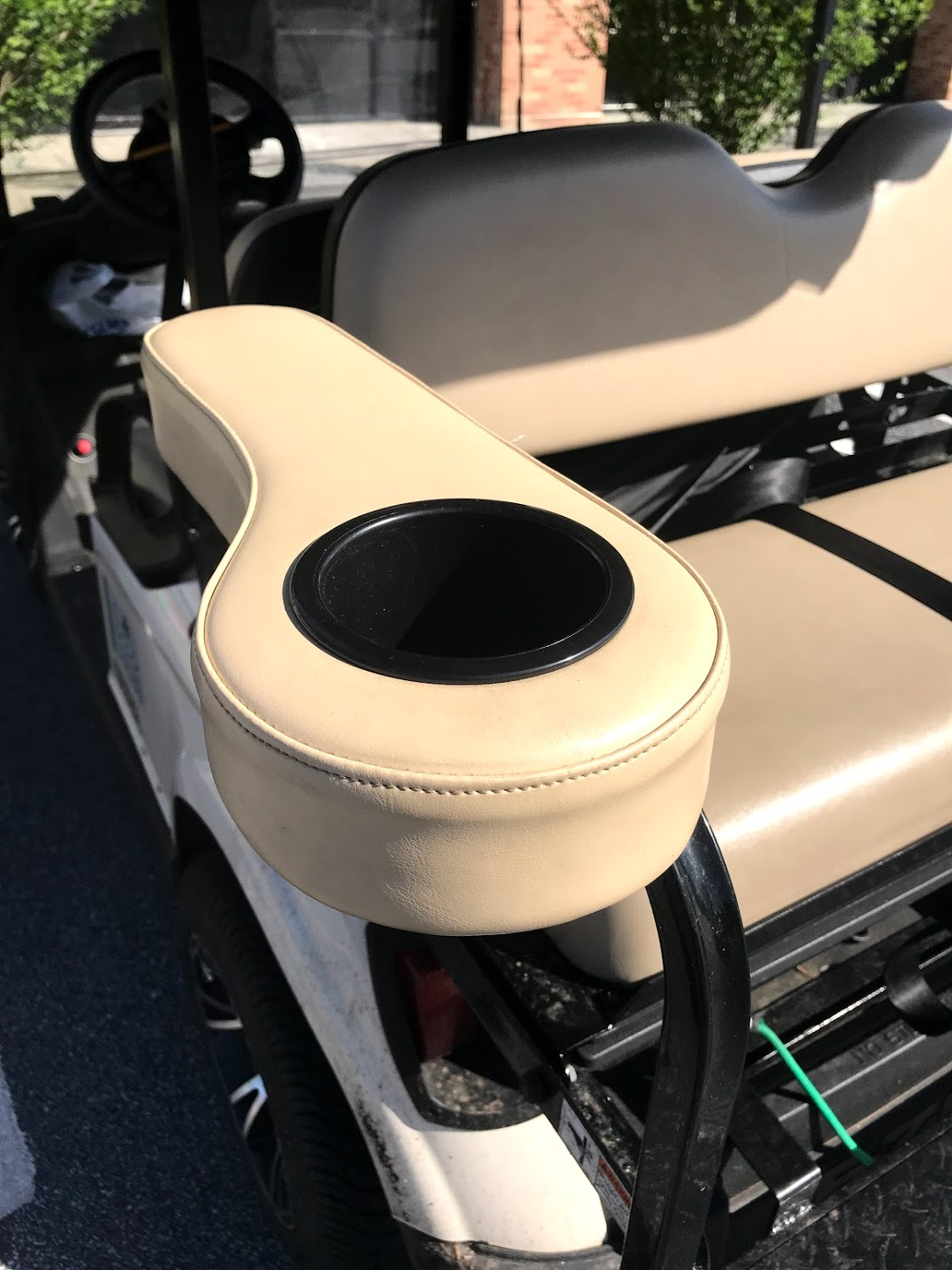 golf cart rear seat cup holder